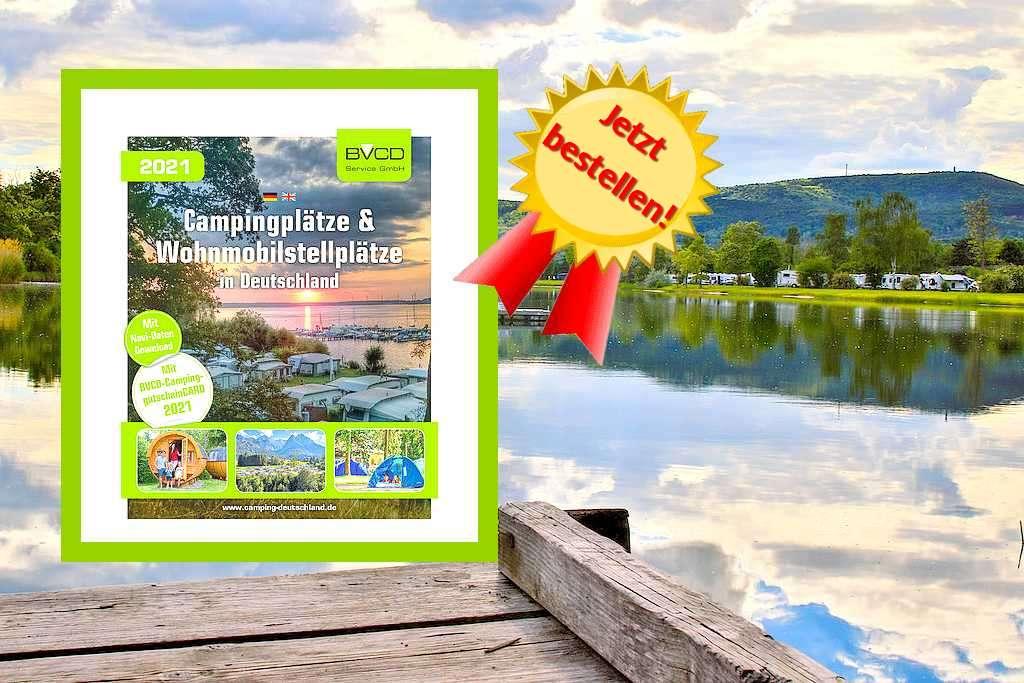 Der BVCD-Campingführer enthält sämtliche Kontaktdaten zu mehr als 1.000 verbandsorganisierten Camping- und Wohnmobilstellplätzen aller Preis- und Ausstattungskategorien in Deutschland, die BVCD-Camping-GutscheinCARD sowie Navi-Daten zum Download. (Montage: tom/dkf)