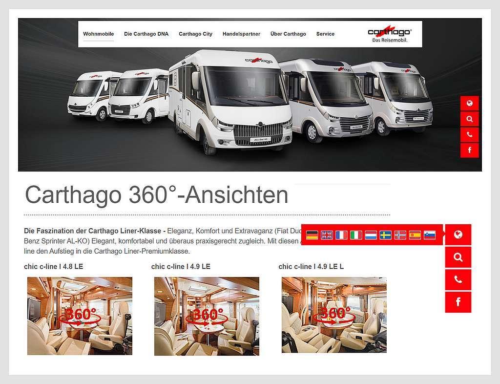 Die Webseite von Carthago zeigt sich modern und multilingual. Ein guter Auftritt für das Jahr 2021. (screenshot: Carthago; Montage tom/dkf)