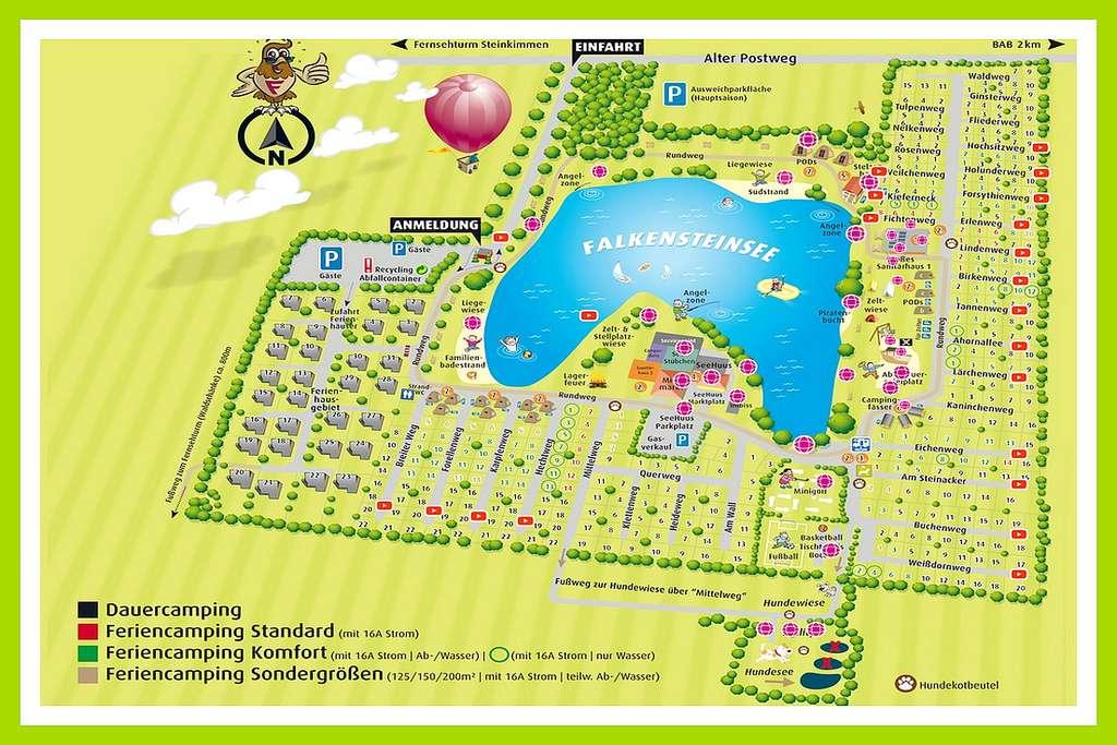 Die gut durchdachte Platzaufteilung sorgt für ein angenehmes und stressfreies Campen. (Grafik: Camping Falkensteinsee)