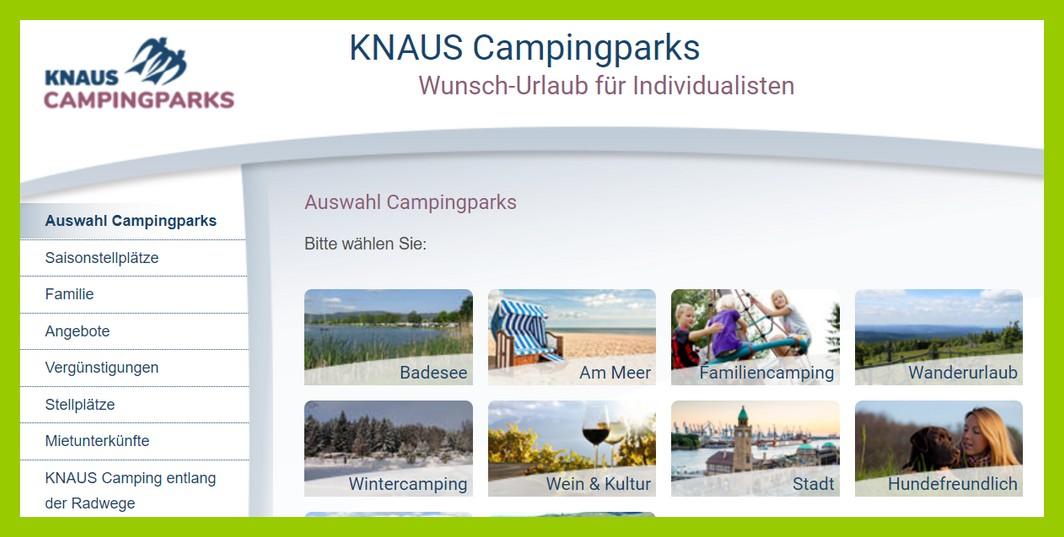 Große Auswahl bei Knauscamps: Anlagen am Meer, für Hundefreunde, für Wanderfreunde, nah an der Stadt und noch mehr... (screenshot: Knauscamps)