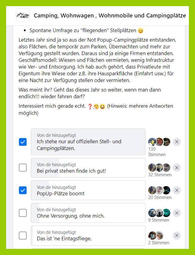 So sah das Ergebnis nach nur wenigen Stunden aus. Viele Teilnehmer und ein eindeutiger Trend. (screenshot: Facebook; Montage: tom/dkf)