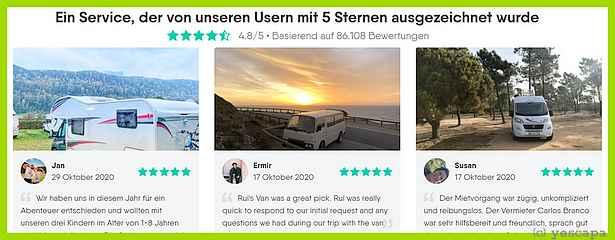 Freizeitfahrzeug mieten? Eine gute Idee! (screenshot: yescapa.de)