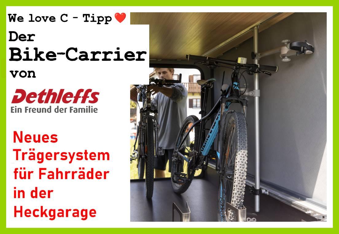 Gute Lösung für Heckgaragen: Der Bike-Carrier von Dethleffs hält bis zu 4 Fahrräder sicher und platzsparend fest. (Foto: Dethleffs)