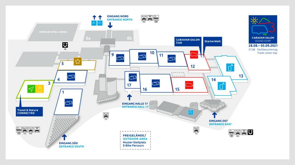 Caravan Salon 2021: In 13 Hallen bietet die Messe ein umfangreiches Programm. (Grafik: Messe Düsseldorf)
